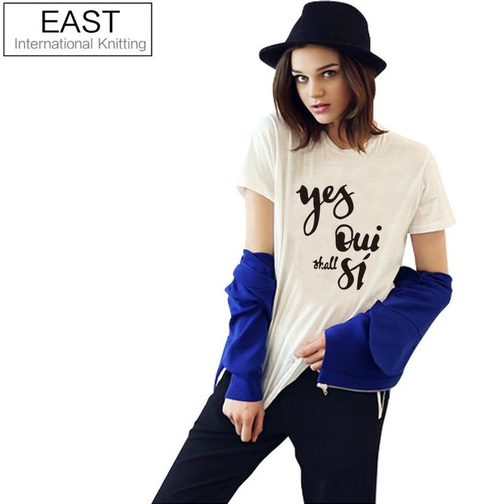 EAST KNITTING H659 2017 New Fashion Women T Shirt White Short Sleeve Tees Tops Yes Oui Shall Si Print Funny T-shirt Punk T Shirt
