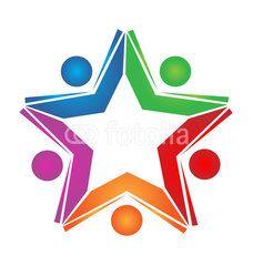 Teamwork colored books logo vector