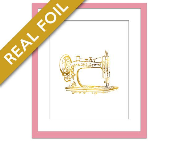 Antique Sewing Machine - Gold Foil Print - Gift for Seamstress - Gift for Crafter - Vintage Sewing Machine Art - Gift for Clothing Designer