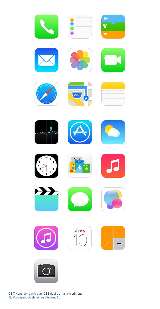 ios7 icons with pure css  #Ios7 #icons #css #nikhil