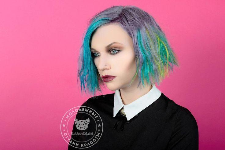 http://salon.kawaicat.ru/jarkoe_okrashivanie  - больше работ по цветному окрашиванию. Бирюзовые волосы Окрашивание волос цветным красителем Антоцианин. Anthocyanin Kawaicat hair color colorful