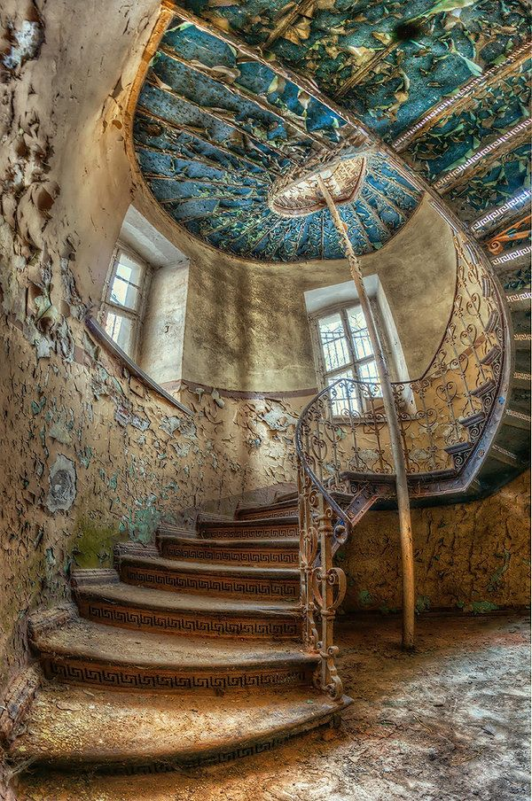 staircase in an abandoned building, Poland