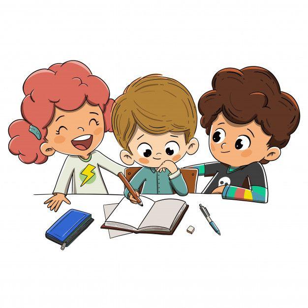 Children In Class Doing Homework Student Cartoon Kids Clipart Free Kids Background