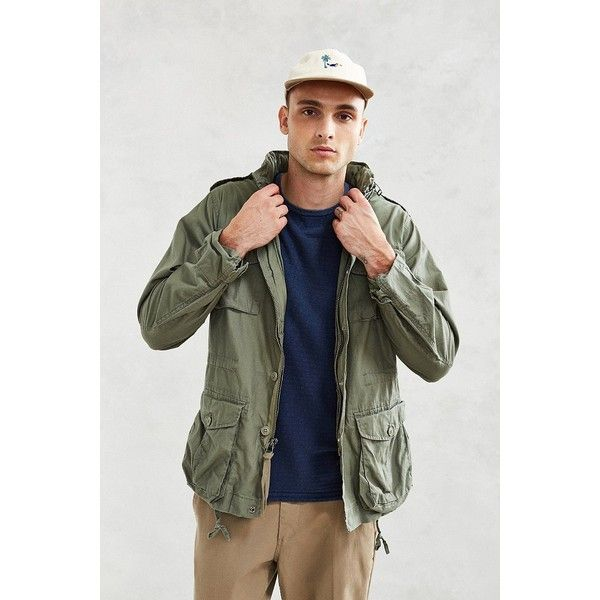 Rothco Vintage Lightweight M-65 Jacket ($79) ❤ liked on Polyvore featuring men's fashion, men's clothing, men's outerwear, men's jackets, olive, mens olive green military jacket, mens lightweight cotton jacket, mens olive green jacket, mens military style jacket and mens green military jacket