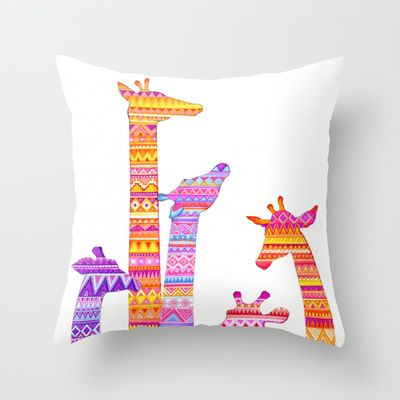 Giraffe Silhouettes in Colorful Tribal Print Throw Pillow by Annya Kai - $20.00http://society6.com/product/Giraffe-Silhouettes-in-Happy-Colorful-Tribal-Print_Pillow