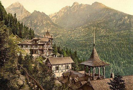 19. century picture with High Tatras chalets, probably Tatranska Lomnica town