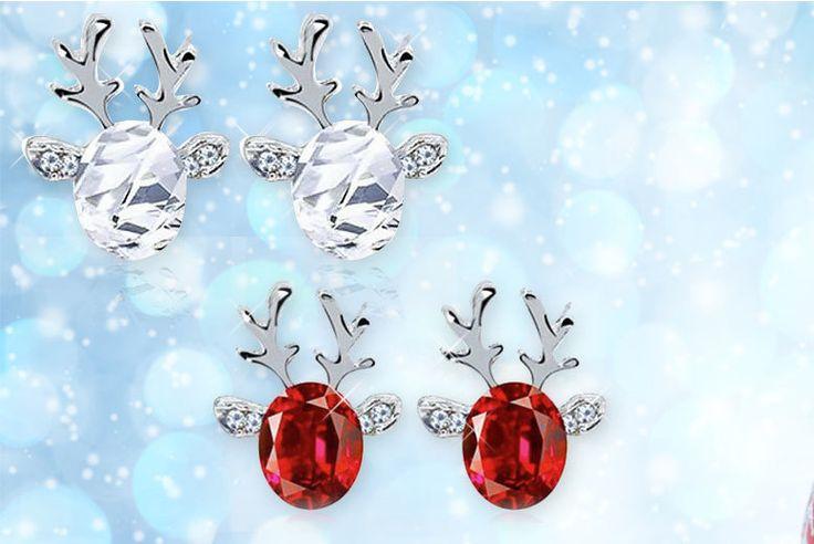 Crystal Reindeer Earrings - White or Red!