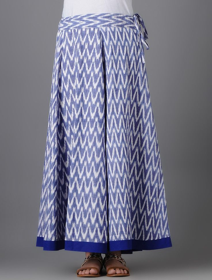 Buy Ivory Blue Tie up Waist Ikat Cotton Skirt Women Skirts Online at Jaypore.com