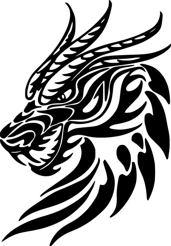 dragon head tribal myth wall car truck laptop window vinyl decal 4 1 x 6 decalmania13 custom. Black Bedroom Furniture Sets. Home Design Ideas