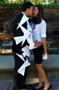 The couple from the Disney short Paperman | 31 Two-Person Halloween Costumes You'll Actually Want To Wear