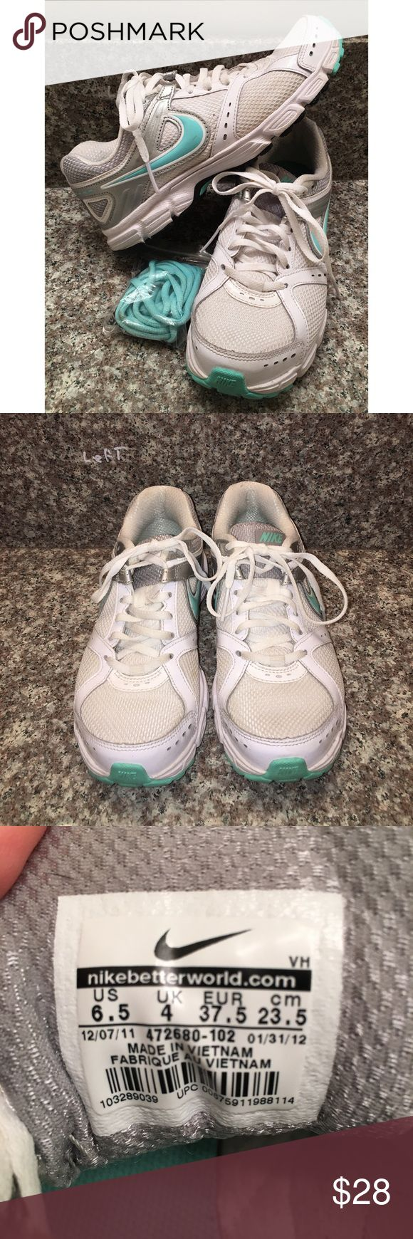 NIKE downshifter 472680 LADIES running shoes 6.5 These are the nike downshifter 472680 running shoes in a sz 6.5❤good used condition with extra laces❤the colors are white, silver and mint green❤happy poshing friends! Nike Shoes Athletic Shoes