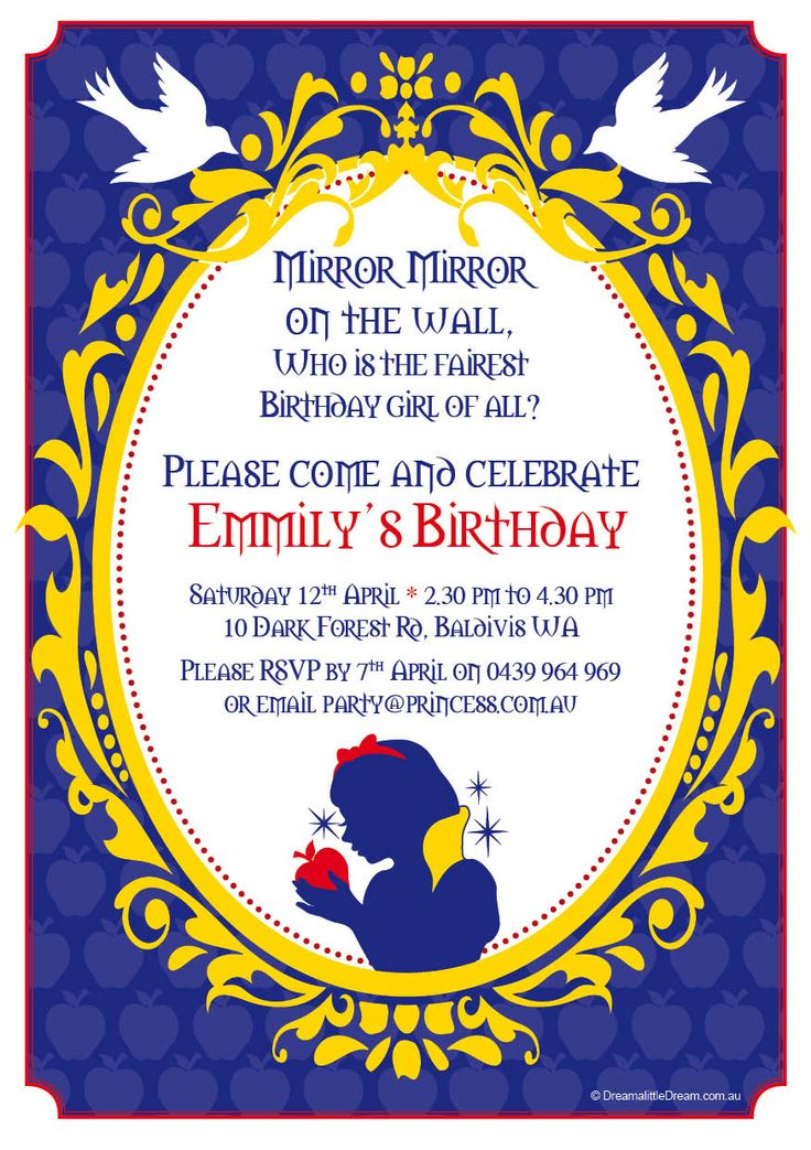 Mirror Mirror on the wall... This is the invitation for our Snow White party package. All of our invitations are customised for your event.