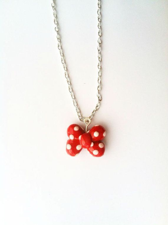 Minnie Mouse Bow Red and White Polka Dot Polymer Clay Necklace on Etsy, $7.50