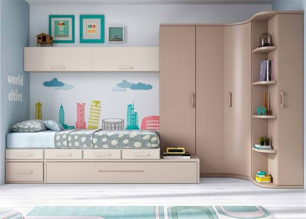 Habitaci n juvenil linea modular con 2 camas novedades - Muebles mesquemobles ...