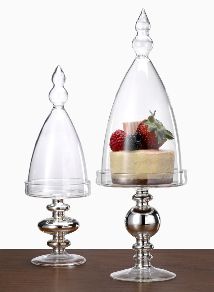 Mini Glass Pedestals With Bell Jars