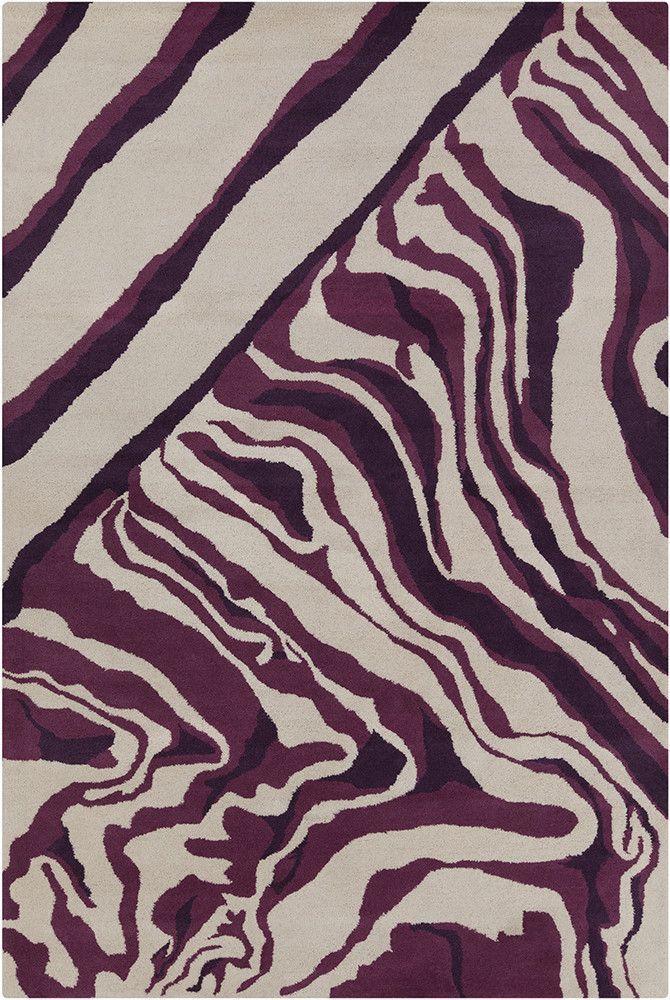 Keid Hand Tufted Wool Cream/Purple Area Rug