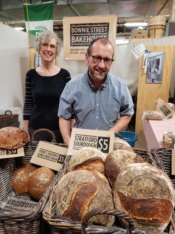 Handmade artisan sourdough bread loaves. Market shopping in London Ontario.