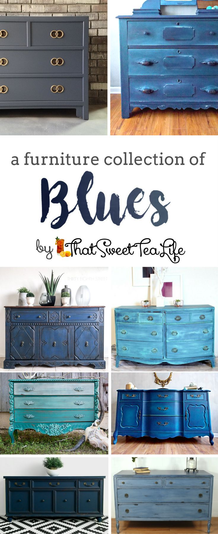 A Furniture Collection of Blues by That Sweet Tea Life | Blue Painted Furniture Ideas | Teal Furniture | Navy Furniture | Painted Dressers | Hale Navy | Furniture Inspiration | Blue Furniture Makeovers