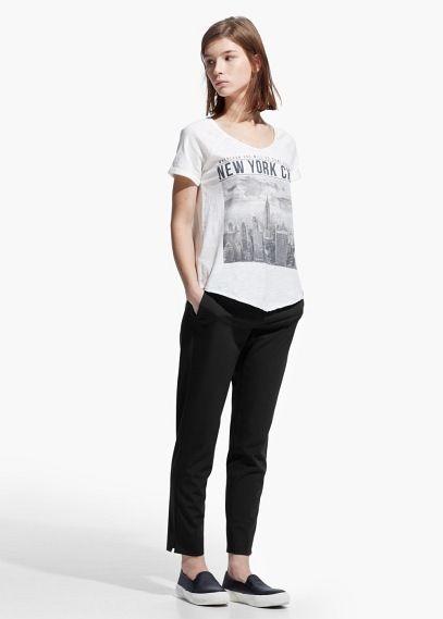 T-shirt mit city-aufdruck | MANGO