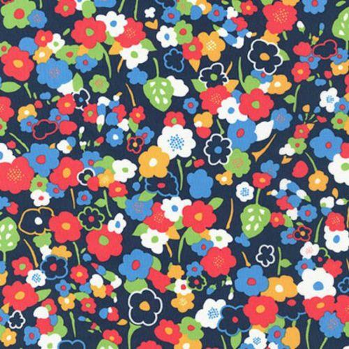 London Calling 5 - Navy Floral - Robert Kaufman - Cotton Lawn