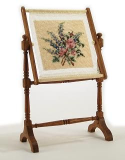 Larkspur and Roses dollhouse needlepoint needlework stand kit by Janet Granger, one of my favourites