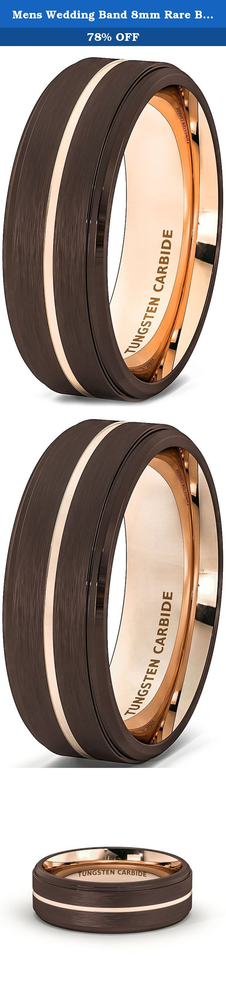 Mens Wedding Band 8mm Rare Brown Brushed Tungsten Ring Thin Rose Gold Groove Step Edge Comfort Fit (8). Width: 8mm Fit: Comfort Fit Thickness: 2.3mm, Weight: Approximately 12-17g depend on sizes, Surface: Brushed Edge: Step Edge, Color: Brown and Rose Gold.