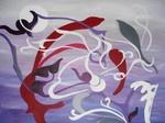 Abstract paars schilderij. Kleurrijk abstract schilderij met de nadruk op de kleur paars.
