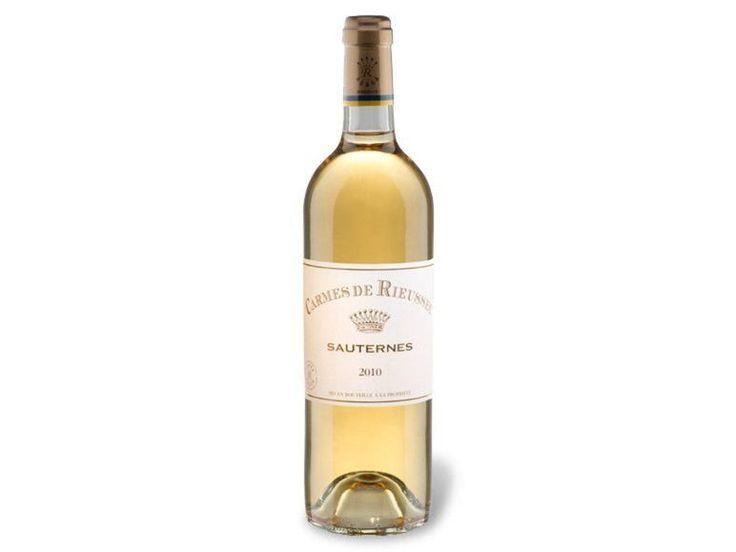 Carmes de Rieussec Sauternes AOP, Weißwein 2010 Herkunft: Frankreich Anbaugebiet: Bordeaux Geschmack: süß O,75l = 21,99 bei lidl online erhältlich