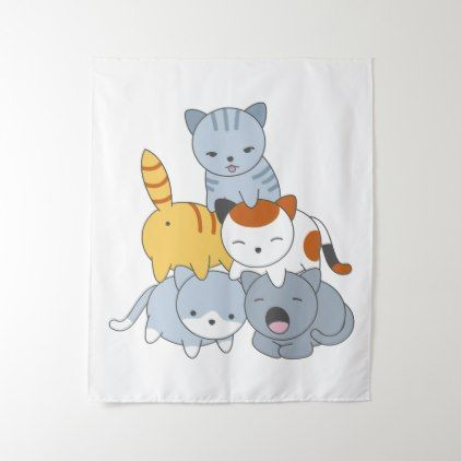 Cat Pyramid - Group of Cats Tapestry  $43.88  by Chibibi  - cyo customize personalize unique diy idea