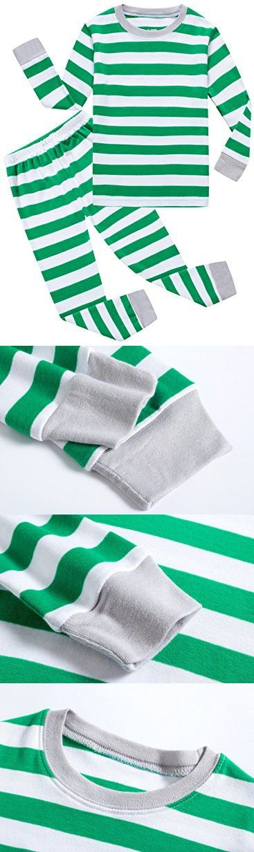 Family Feeling Striped Little Boys Girls Christmas Pajamas Set 100% Cotton Pjs Green Size 18-24Months