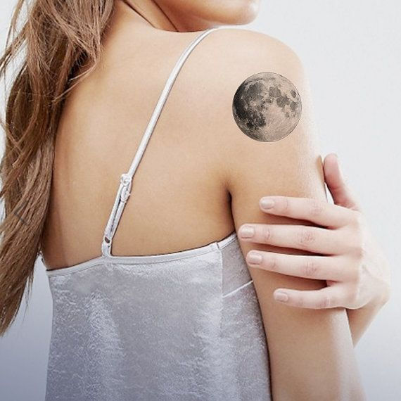 2 Full Moon Temporary Tattoo wrist ankle body by ArrowTattoo