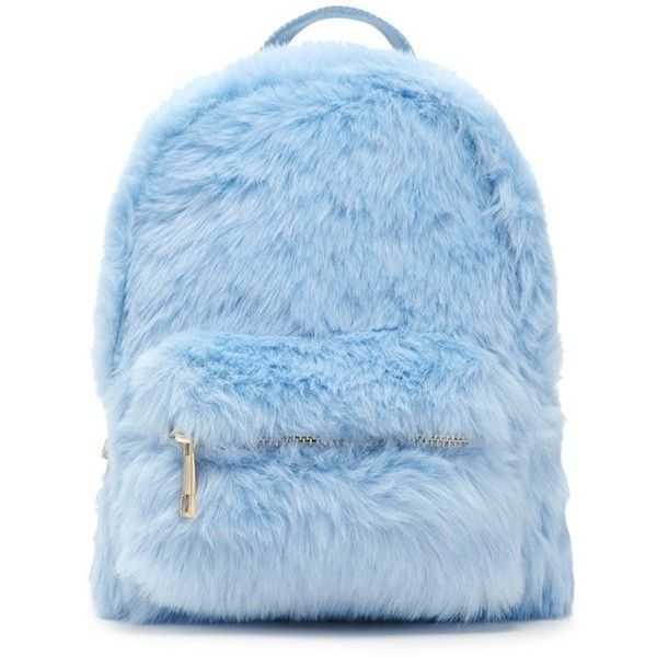 Forever21 Faux Fur Mini Backpack ($20) ❤ liked on Polyvore featuring bags, backpacks, backpack, light blue, mini bag, backpack bags, rucksack bags, miniature backpack and blue backpack