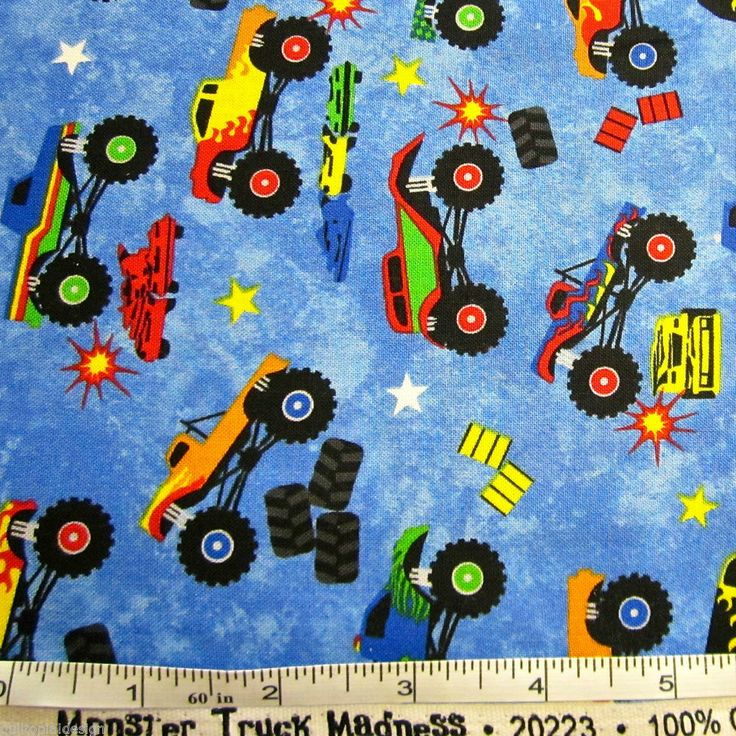 Northcott fabric blue truck scatter boy quilt material for Monster truck fabric
