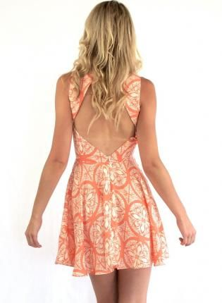 Coral Day Dress - Coral Print Skater Dress with