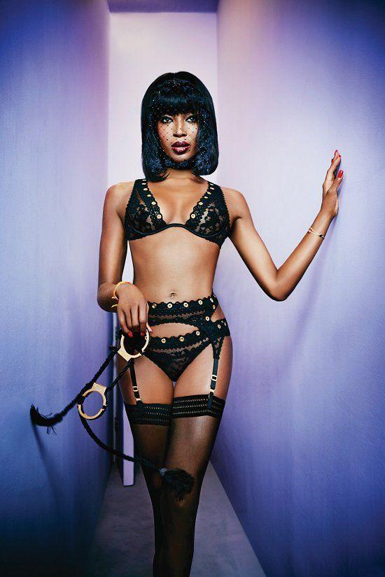 Наоми Кэмпбелл в рекламе нижнего белья Agent Provocateur