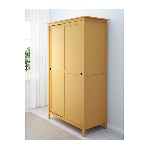 HEMNES Wardrobe with 2 sliding doors - yellow - IKEA