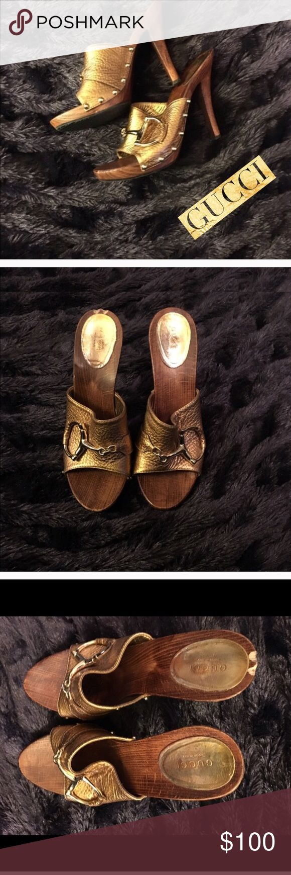 Gucci horsebit heels originally $650 I just purchased these from posh. My foot is a tad wide for them.  I have copied the original listing for your view. You can't notice the chip when they're on. I'm losing money posting them lower but I've seen offers of $100 for these and firm on selling them for that price. They're gorgeous and I'm so sad they are too tight 😢 Gucci Shoes Heels