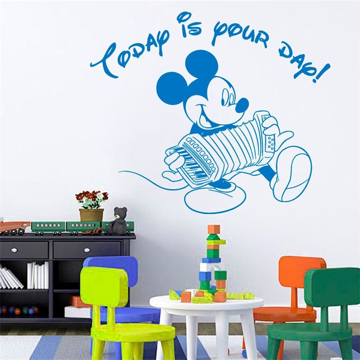 Wall Decal Quote Today Is Your Day Mickey Mouse Sticker Vinyl Decals Art  Mural Home Bedroom Decor Interior Design Baby Boy Nursery Decor