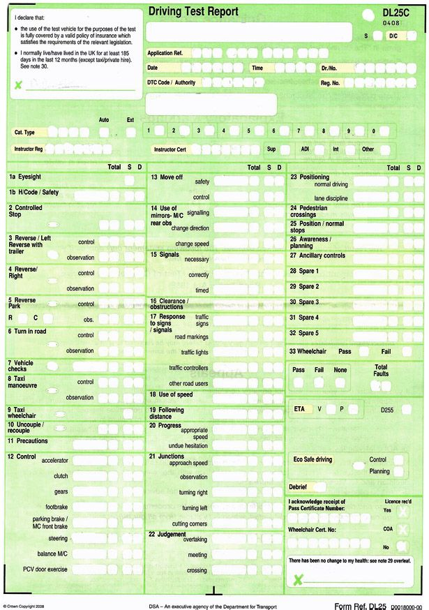 Driving test results sheet