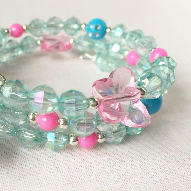 Blue and pink butterfly bracelet.