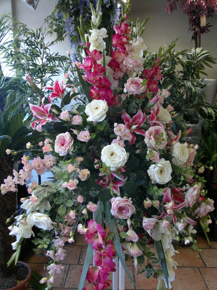 17 best images about headstone arrangements on pinterest for Artificial flowers decoration ideas