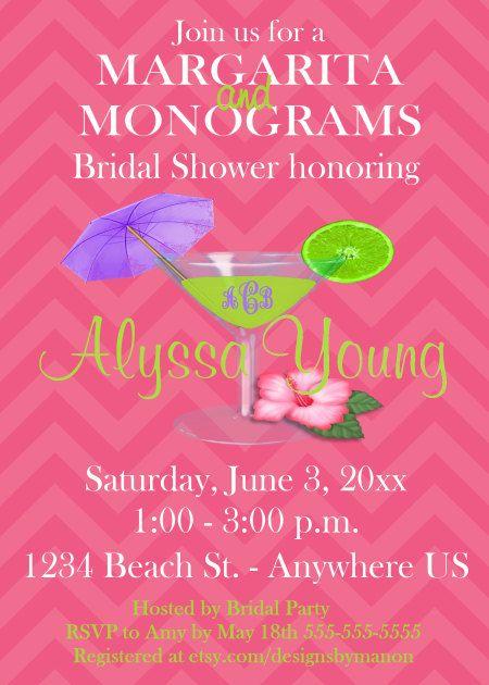 Margarita and Monograms Chevron Bridal Shower or Birthday Invitation - YOU PRINT by DesignsByManon on Etsy