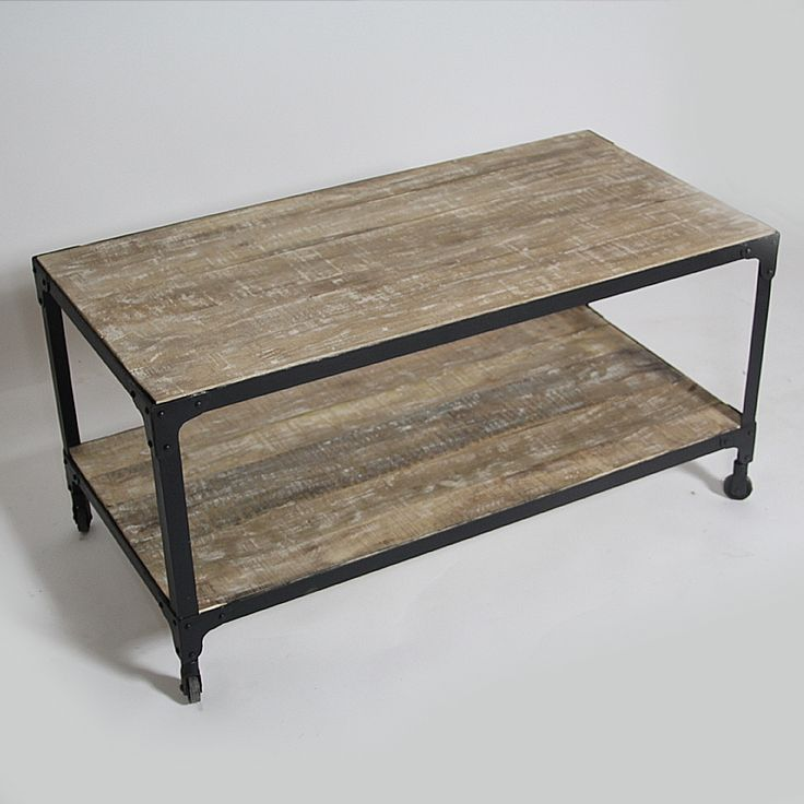 Good Tables De Salon Design #5: Table Basse Bois Métal Double Plateau Blanchi