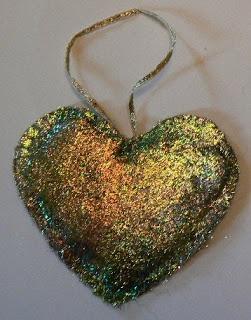 Pierrette's Stitching Gallery: Angelina Fibers: Golden Heart Ornament