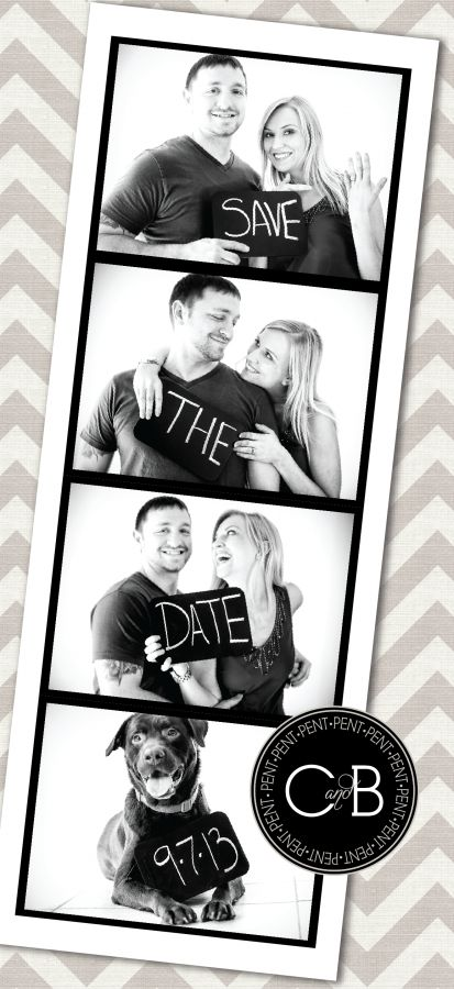 Black and Tan Save the Date Card with Chevron Background