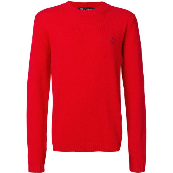 Versace medusa embroidered jumper (1.710 BRL) ❤ liked on Polyvore featuring men's fashion, men's clothing, men's sweaters, red, mens patterned sweaters, mens slim fit sweaters and mens red sweater