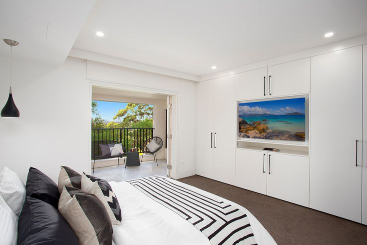 King size master, anzac bridge views, built in TV, styled, throw cushions, throw, balcony, private, Pilcher Residential