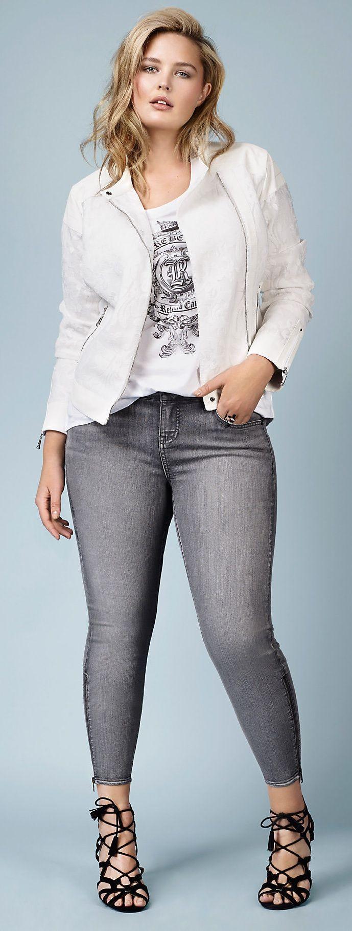 Plus Size Zip Skinny Jeans