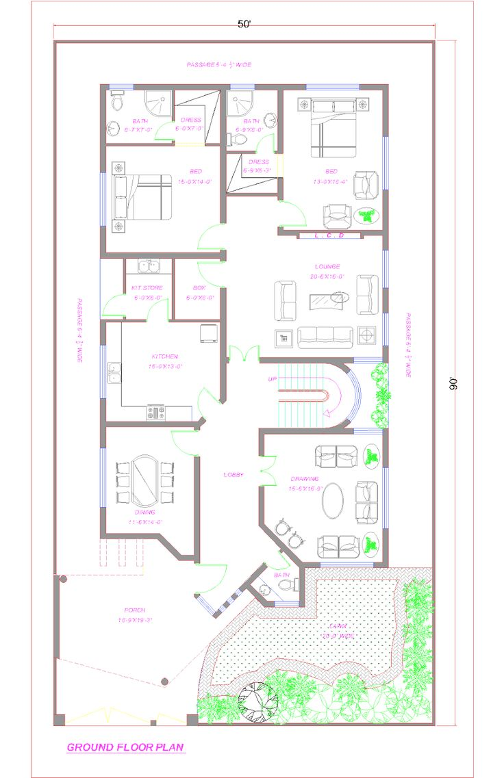 Ground floor plan 1 kanal lahore 1035 1600 35x60 house plans