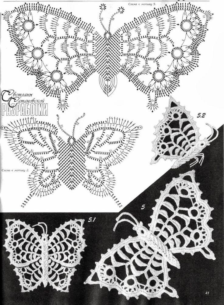 Letras e Artes da Lalá: Crochê irlandês: borboletas (by pinterest)